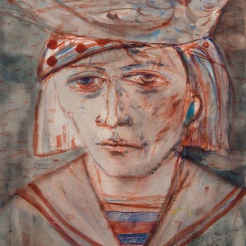 Joyce W Cairns  The Spotted Hat  watercolour  54cm x 41cm