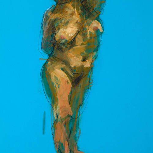 Alan McGowan  Topaz on Blue  oil and pastel on paper  59cm x 42cm