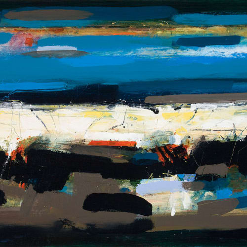 Robert McAulay  Borders with Black Seam I  acrylic on gesso panel  60cm x 121cm