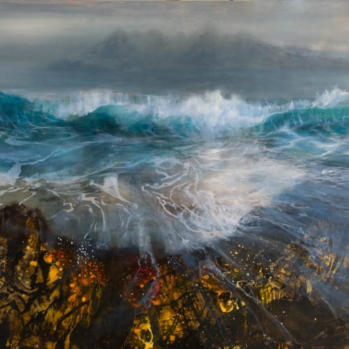 Beth Robertson Fiddes  Rum from Eigg, 2019  mixed media  122cm x 153cm  48 x 60 in