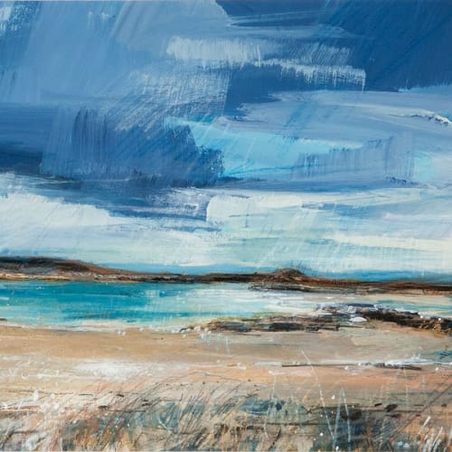 Sarah Carrington  Across to Jura from Uisken, Mull  mixed media and gold leaf  24cm x 59cm