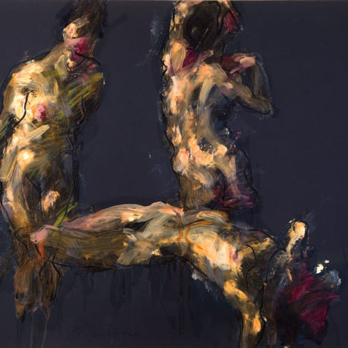 Alan McGowan  Topaz on Black  oil and pastel on card  59cm x 84cm