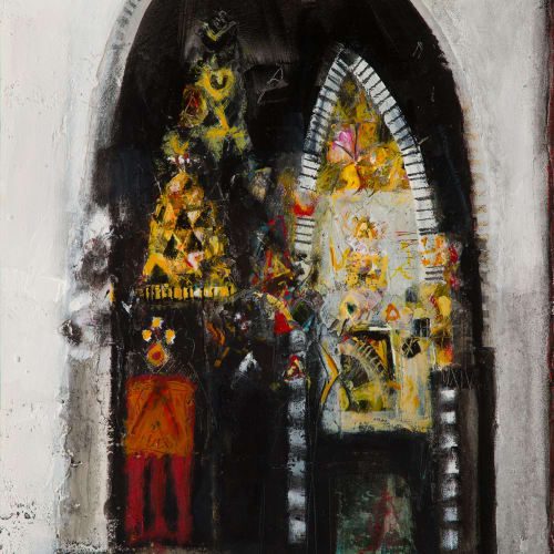 Charles MacQueen RSW RGI  Church Interior, Montisi, 2019  mixed media  38cm x 36cm  15 x 14 in