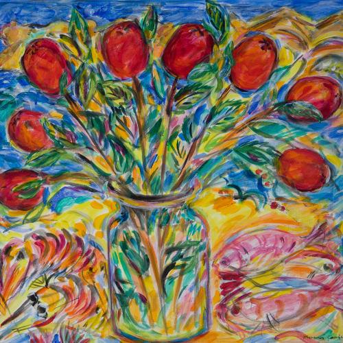 Fionna Carlisle  Christmas Apples  acrylic  41cm x 46cm