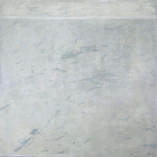 Marian Leven RSA RSW  Water Marks  acrylic on canvas  122cm x 122cm
