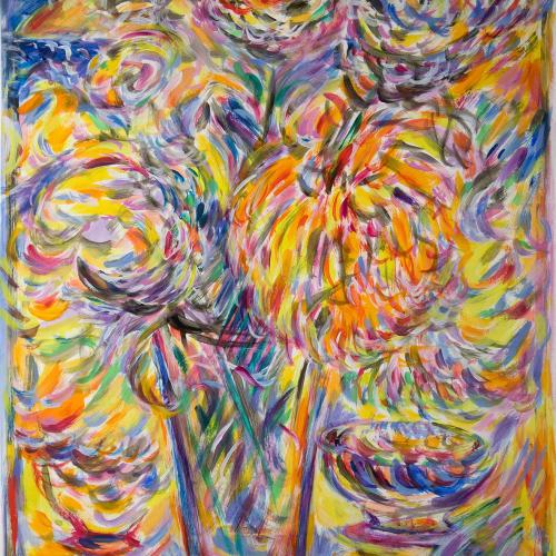 Fionna Carlisle  Laiki Flowers, Xania  acrylic on paper  61cm x 48cm