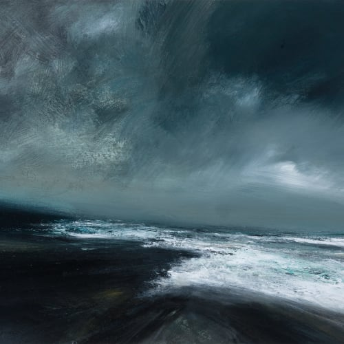 Ruth Brownlee  East Yell Storm Sea  mixed media on board  48cm x 52cm