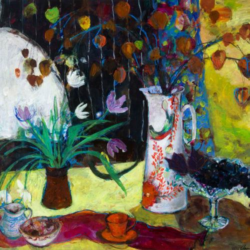 Ann Oram  Yellow Still-life  mixed media on paper  67cm x 80cm