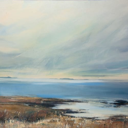 Sarah Carrington  Spring Light over Staffa and the Treshnish Isles  oil and mixed media on canvas with gold leaf  76cm x 186cm