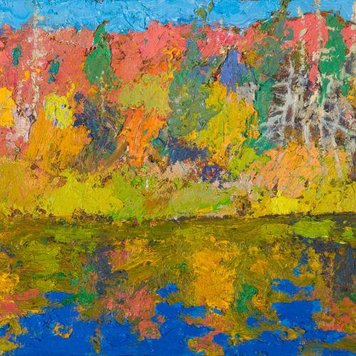 Allan MacDonald  The Fall, Algonquin, 2020  oil on board  21.5 x 28.5 cm  8 1/2 x 11 1/4 in