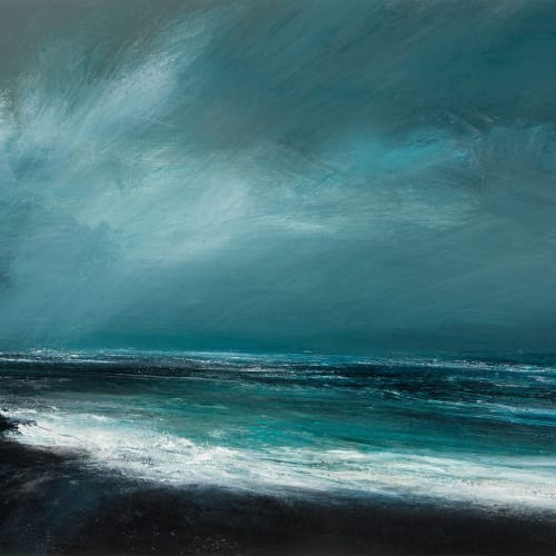 Ruth Brownlee  Fleeting Light over the North Sea  mixed media  41cm x 55cm