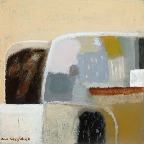 Ann Wegmuller RSW  Hill Fields, Winter 1  oil on canvas  20cm x 20cm
