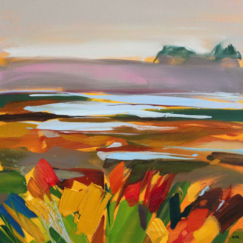 Shona Barr  Misty Heath  oil on canvas  71cm x 71cm  28 x 28 in