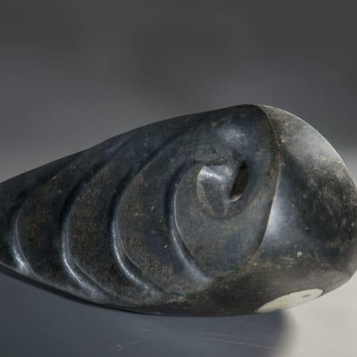 Steve Dilworth  Deep Water Drogue, 2020  harris stone, whale bone, brass and deep water  14cm high x 33cm x 15cm