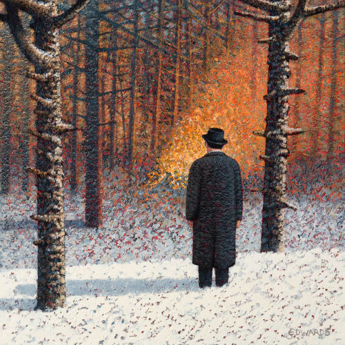 Mark Edwards  Watching the Fire, 2020  mixed media  40cm x 40cm