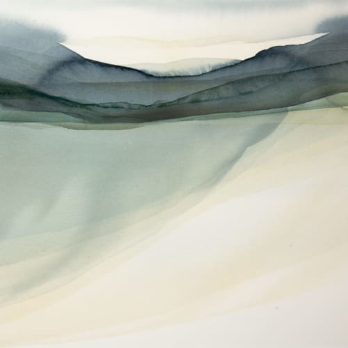 Peter Davis  Weisdale - the end of summer  watercolour chalk rubbing on paper  51cm x 70cm
