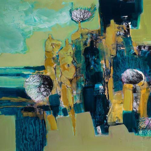 Kirstie Cohen  The Gathering I  mixed media  35cm x 40cm