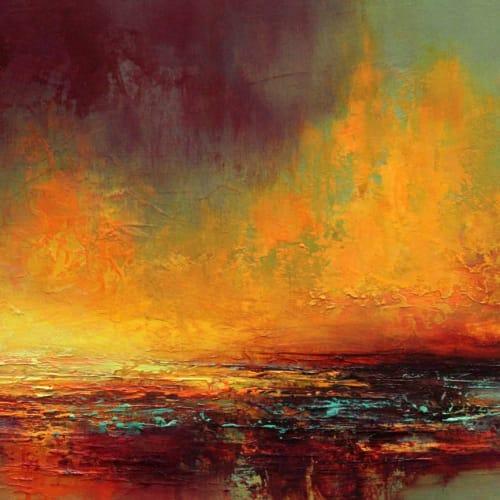 Kirstie Cohen  Orange Sunset, 2016  oil on board  24cm x 42cm