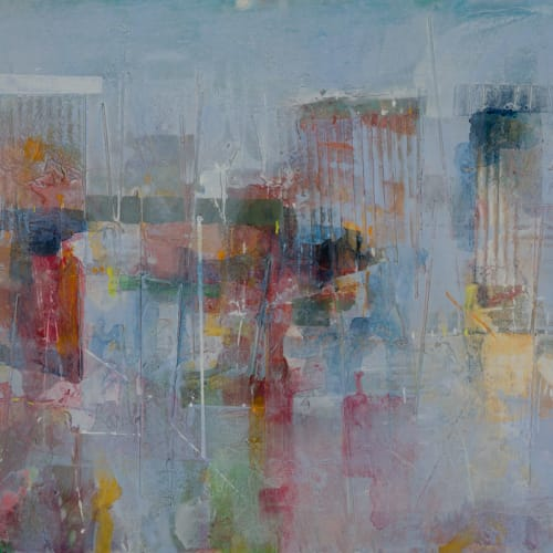 Robert McAulay  Uprights 3  acrylic on canvas  45.5cm x 85cm