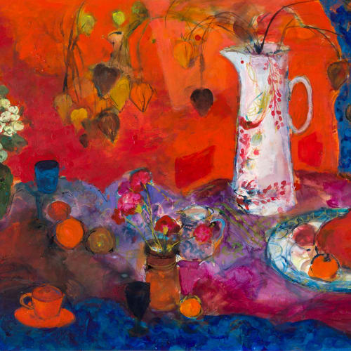 Ann Oram  Red Still-life with White Jug and Fruit  mixed media on paper  67cm x 100cm