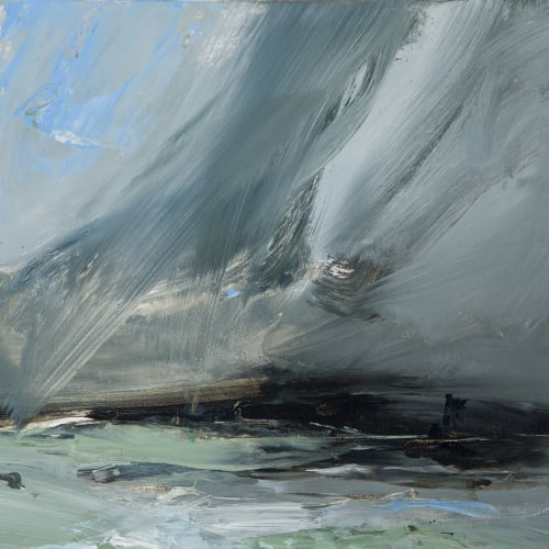 Janette Kerr  Dark to Light - Voe of Dale, Shetland  oil on board  30cm x 40cm