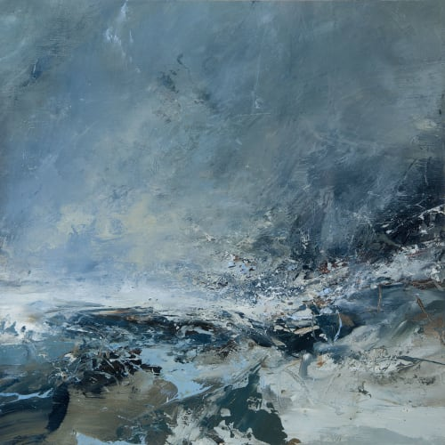 Janette Kerr  Hurricane Abigail I - Scatness  oil on board  41cm x 41cm