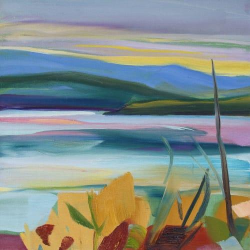 Shona Barr  Peaceful Loch  oil on canvas  40.6 x 40.6 cm  16 x 16 in
