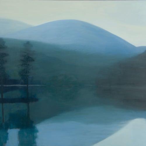 Jane MacNeill  Loch with Hidden Island (Loch an Eilein), 2019  oil on board  94cm x 116cm