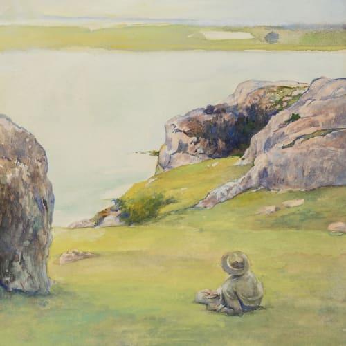John La Farge, Study at Brenton's Cove, Newport, Looking towards Fort Adams, c. 1865-1870