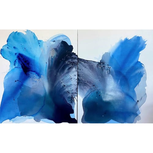 Collector commission, New York. Flowing Together, diptych, each 48 x 60 in.