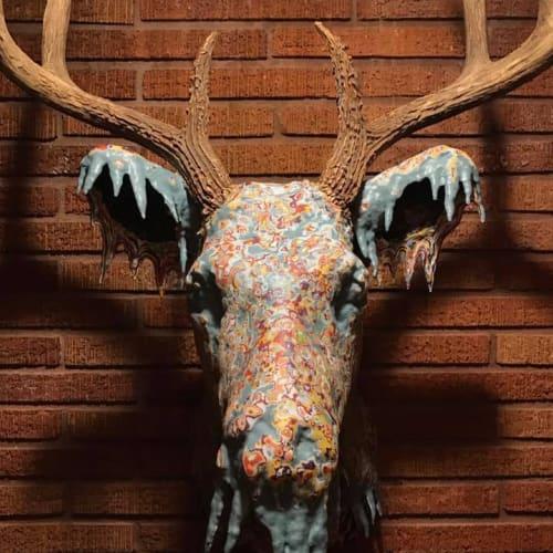 """Old Nantucket #75,"" 75 coats of latex paint on mounted deer head, 2017"
