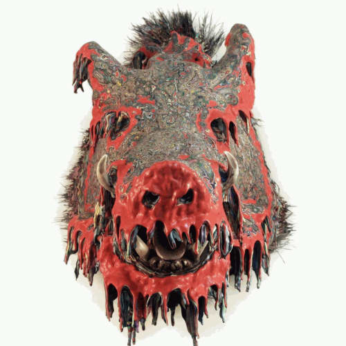 """""""Roulette #100,"""" 100 coats of latex paint on mounted boar's head, 2019"""
