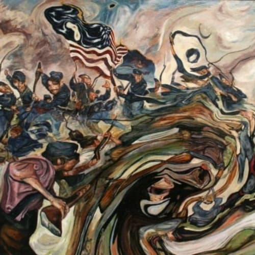 """""""The Seige of Yathrib, 627 BCE, (Significant Unknown Battles of US History)"""" Oil on Wood, 2014"""