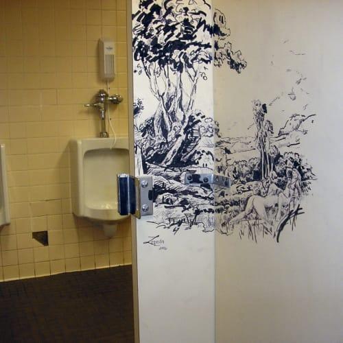 """Upscale Graffiti #2,"" Sharpie on bathroom walls (destroyed), 2006"