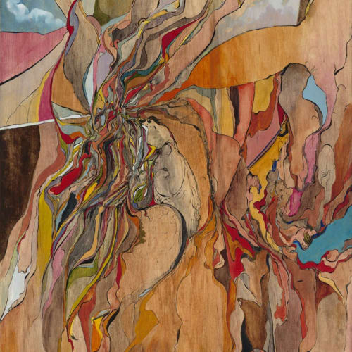 """""""Living, Breathing,"""" Watercolor and Oil on Wooden Panel, 48x22"""""""