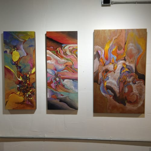 A Series of Baldridge's paintings on display at Bakova Gallery