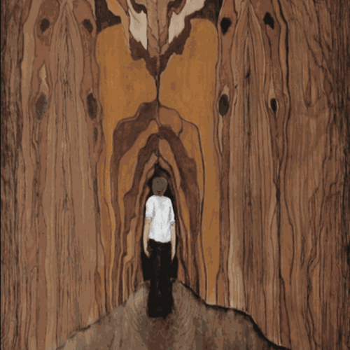 """""""Weed Forestin,"""" Wood Stain on Wooden Panel, 48x24"""""""