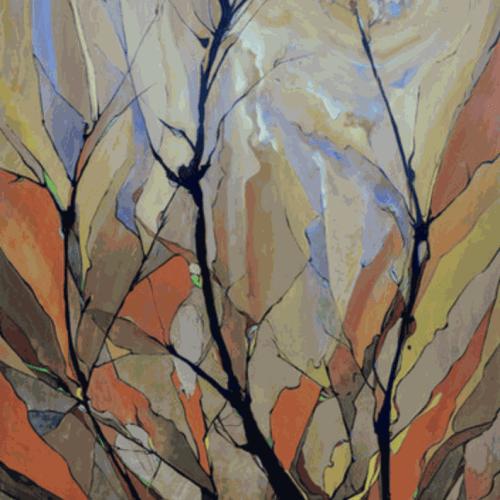 """Tree II,"" Gouache and Watercolor on Wooden Panel, 80x34"""