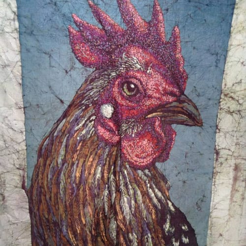 """""""Rooster #3,"""" Batik (Dye and hot wax on cloth,) 42x54"""""""