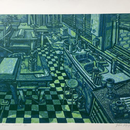 Mulfinger's recreation of the old print-making classroom in the Fine Arts building at Bob Jones University. This is a large reduction Linocut.