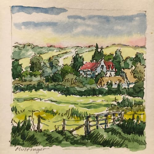 """A tiny 3 1/2"""" x 3 1/2"""" square composition of the Hopton Castle area in Shropshire England where Mulfinger visited with the Georgia Boy Choir in the summer of 2014"""