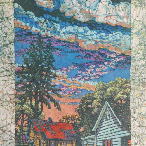 """Woodside Mill Houses,"" batik, 80x36"""