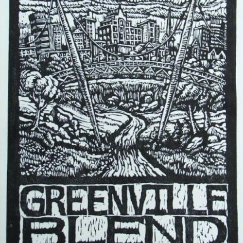 """""""Greenville Blend,"""" linocut"""