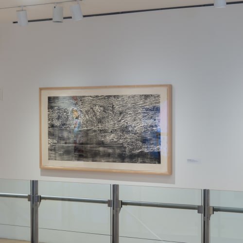 Orit Hofshi, If the Tread is an Echo 2010, woodcut on handmade Abaca and Kozo paper, 39 x 78 inches, edition of 6 PAFA installation view; Photo: Adrian Cubillas courtesy of The Pennsylvania Academy of the Fine Arts, Philadelphia