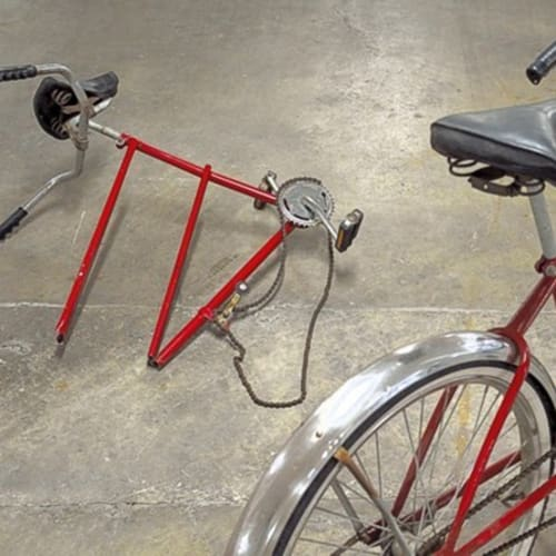 Jon Sasaki, The Romantic Journey Was Usually A Solitary One, 2014 modified tandem bicycle, brazing 72 x 72 x 48...