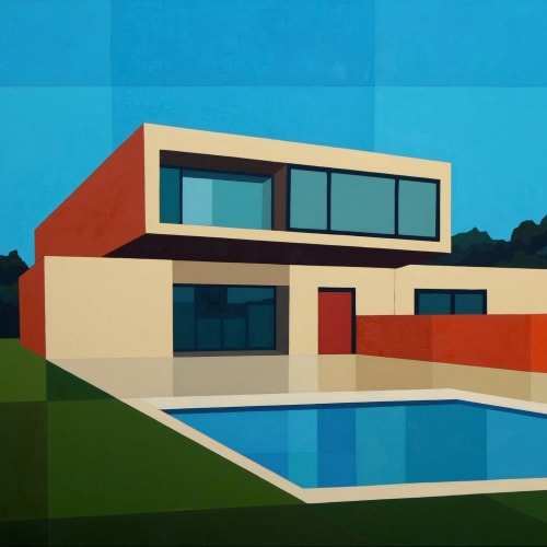 Andy Burgess  Cantilever Pool House, 2016  Oil on Canvas  124.5 x 132.1 cm