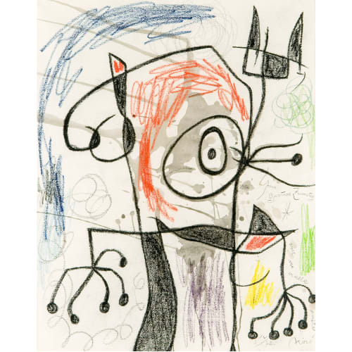 Joan Miró Personnage II, 1967-72 Watercolour and wax crayon on paper Aquarelle et crayon de cire sur papier 25 1/4 x 20 in 64 x 51 cm