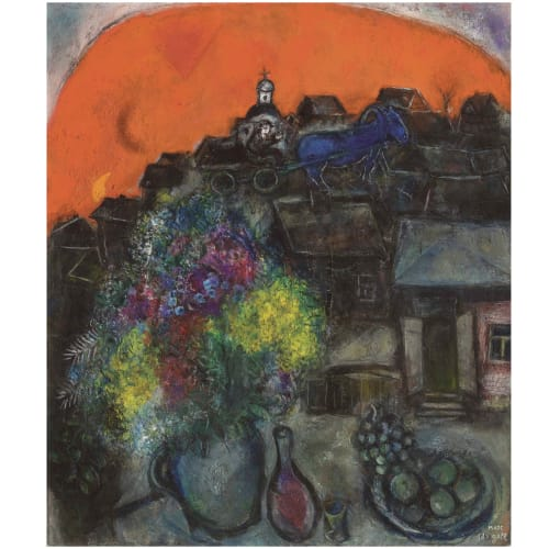 Marc Chagall Village Noir au Ciel Rouge, 1951 Oil and india ink on canvas Huile et encre de chine sur toile 29 1/2 x 25 1/4 in 75 x 64 cm