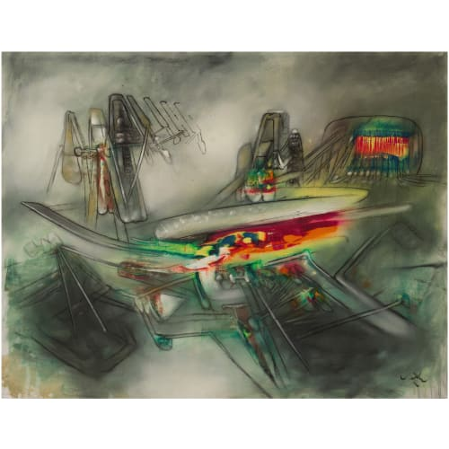ROBERTO MATTA UNTITLED, 1957 Oil on canvas Huile sur toile 43 7/8 x 58 1/4 in 111.5 x 148 cm