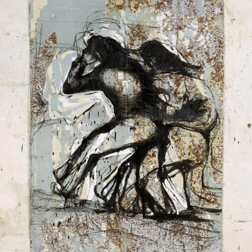Jean Charles BLAIS, m n, 2021, Peinture à l'huile sur affiche arrachées, 232 x 150 cm. Courtesy de l'artiste et de la galerie Catherine Issert. © François Fernandez.